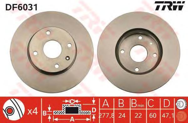 Диск тормозной DF6031 TRW/Lucas DF6031 комплект 2 штDF6031