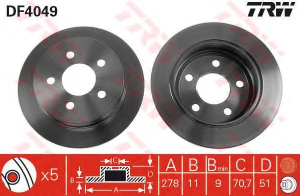 Диск тормозной TRW/Lucas DF4049 комплект 2 штDF4049