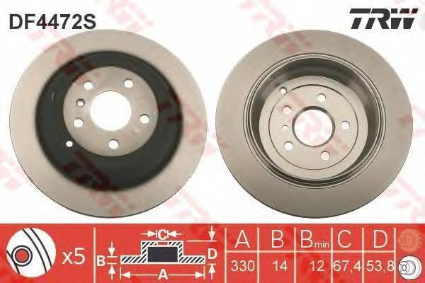Диск тормозной TRW/Lucas DF4472S комплект 2 штDF4472S