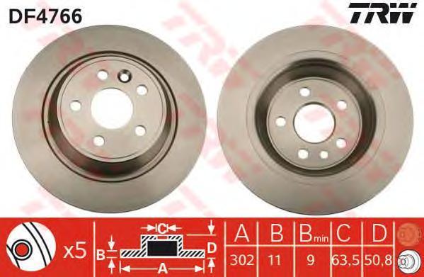 Диск тормозной TRW/Lucas DF4766 комплект 2 шт набор jtc 4766