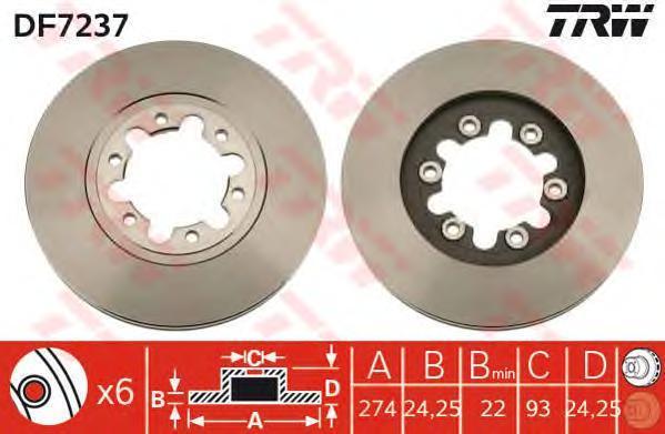 Диск тормозной TRW/Lucas DF7237 комплект 2 штDF7237
