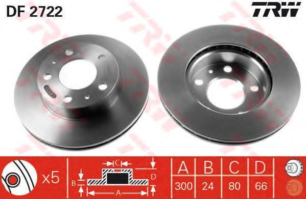 Диск тормозной TRW/Lucas DF2722 комплект 2 штDF2722
