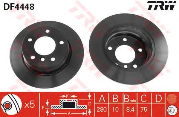 Диск тормозной TRW/Lucas DF4448 комплект 2 штDF4448