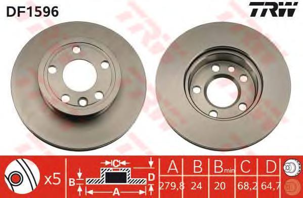 Диск тормозной TRW/Lucas DF1596 комплект 2 штDF1596