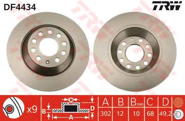 Диск тормозной TRW/Lucas DF4434 комплект 2 штDF4434