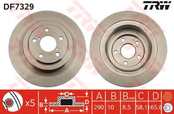 Диск тормозной TRW/Lucas DF7329 комплект 2 штDF7329