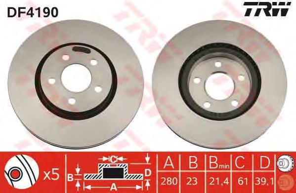 Диск тормозной TRW/Lucas DF4190 комплект 2 штDF4190