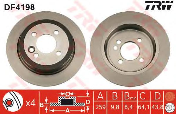Диск тормозной TRW/Lucas DF4198 комплект 2 штDF4198
