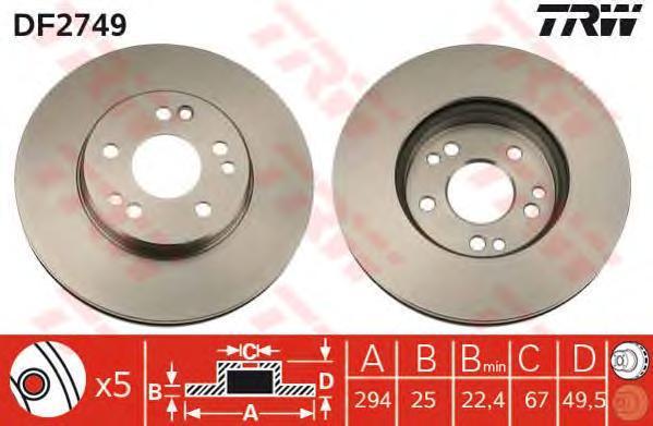 Диск тормозной TRW/Lucas DF2749 комплект 2 штDF2749