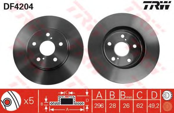 Диск тормозной TRW/Lucas DF4204 комплект 2 штDF4204