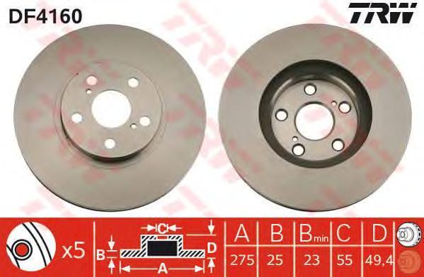 Диск тормозной TRW/Lucas DF4160 комплект 2 штDF4160