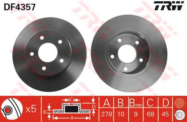 Диск тормозной TRW/Lucas DF4357 комплект 2 штDF4357
