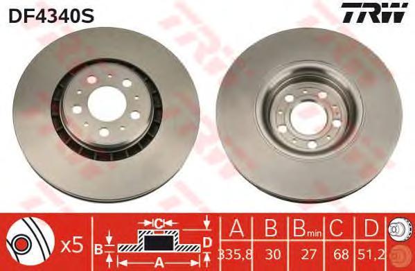 Диск тормозной TRW/Lucas DF4340S комплект 2 штDF4340S
