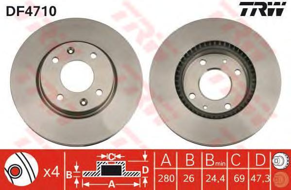 Диск тормозной TRW/Lucas DF4710 комплект 2 штDF4710