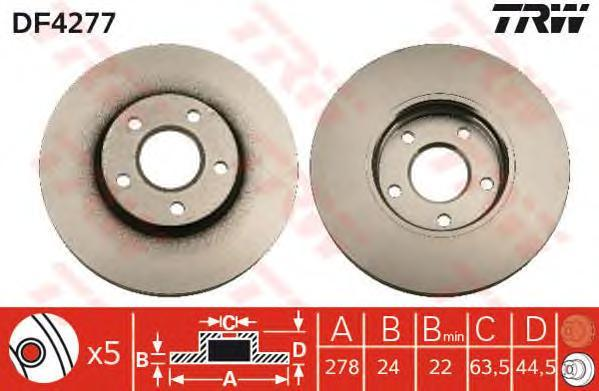 Диск тормозной TRW/Lucas DF4277 комплект 2 штDF4277