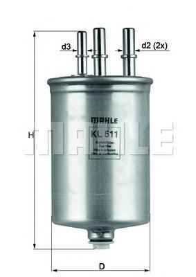 Фильтр топливный Mahle KL511KL511