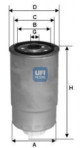 Фильтр топливный дизель UFI 24.H2O.0524.H2O.05