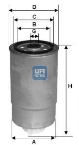 Фильтр топливный дизель UFI 24.H2O.0424.H2O.04