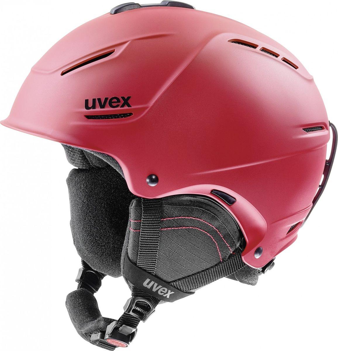 Шлем горнолыжный Uvex P1us 2.0 Helmet, цвет: красный матовый. Размер 55/596211Удобный шлем Uvex P1us 2.0 Helmet с конструкцией +technology обеспечит безопасность на склоне.В модели предусмотрена съемная защита ушей с технологией Natural Sound, которая не искажает звуки. Гипоаллергенная подкладка и регулируемая вентиляция гарантируют комфорт во время катания. Фиксатор стрэпа маски и застежка monomatiс, которую легко отрегулировать одной рукой, служат для удобства использования.