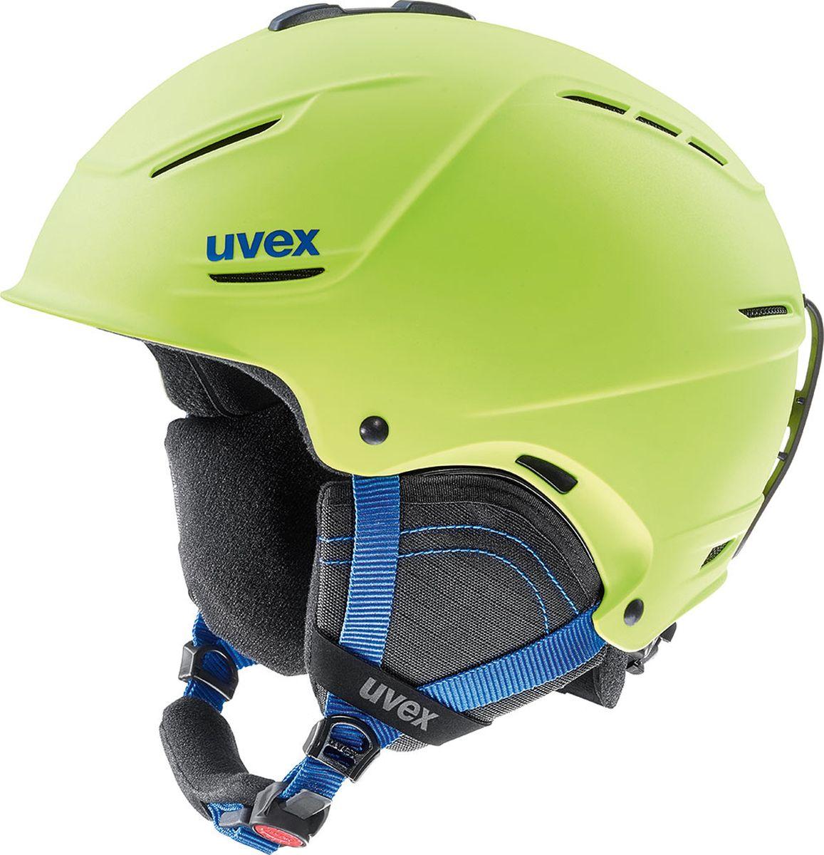Шлем горнолыжный Uvex P1us 2.0 Helmet, цвет: лайм матовый. Размер 55/596211Удобный шлем от Uvex с конструкцией +technology обеспечит безопасность на склоне. В модели предусмотрена съемная защита ушей с технологией Natural Sound, которая не искажает звуки. Гипоаллергенная подкладка и регулируемая вентиляция гарантируют комфорт во время катания. Фиксатор стрэпа маски и застежка monomatiс, которую легко отрегулировать одной рукой, служат для удобства использования. Система IAS для индивидуальной подгонки по размеру. Сделано в Германии.