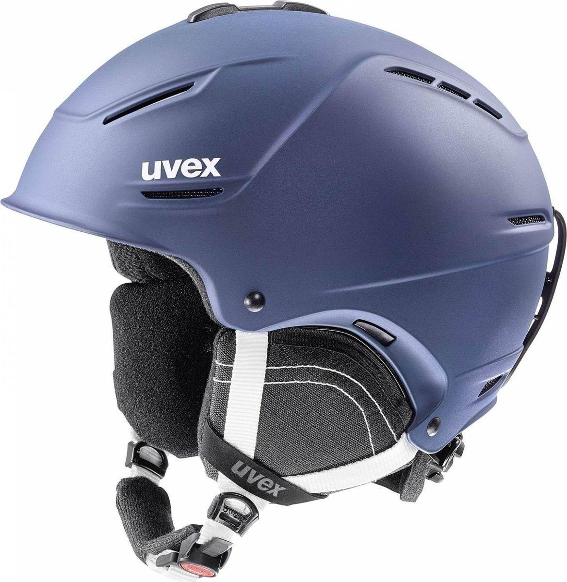 Шлем горнолыжный Uvex P1us 2.0 Helmet, цвет: синий матовый. Размер 55/596211Удобный шлем от Uvex с конструкцией +technology обеспечит безопасность на склоне. В модели предусмотрена съемная защита ушей с технологией Natural Sound, которая не искажает звуки. Гипоаллергенная подкладка и регулируемая вентиляция гарантируют комфорт во время катания. Фиксатор стрэпа маски и застежка monomatiс, которую легко отрегулировать одной рукой, служат для удобства использования. Система IAS для индивидуальной подгонки по размеру. Сделано в Германии.
