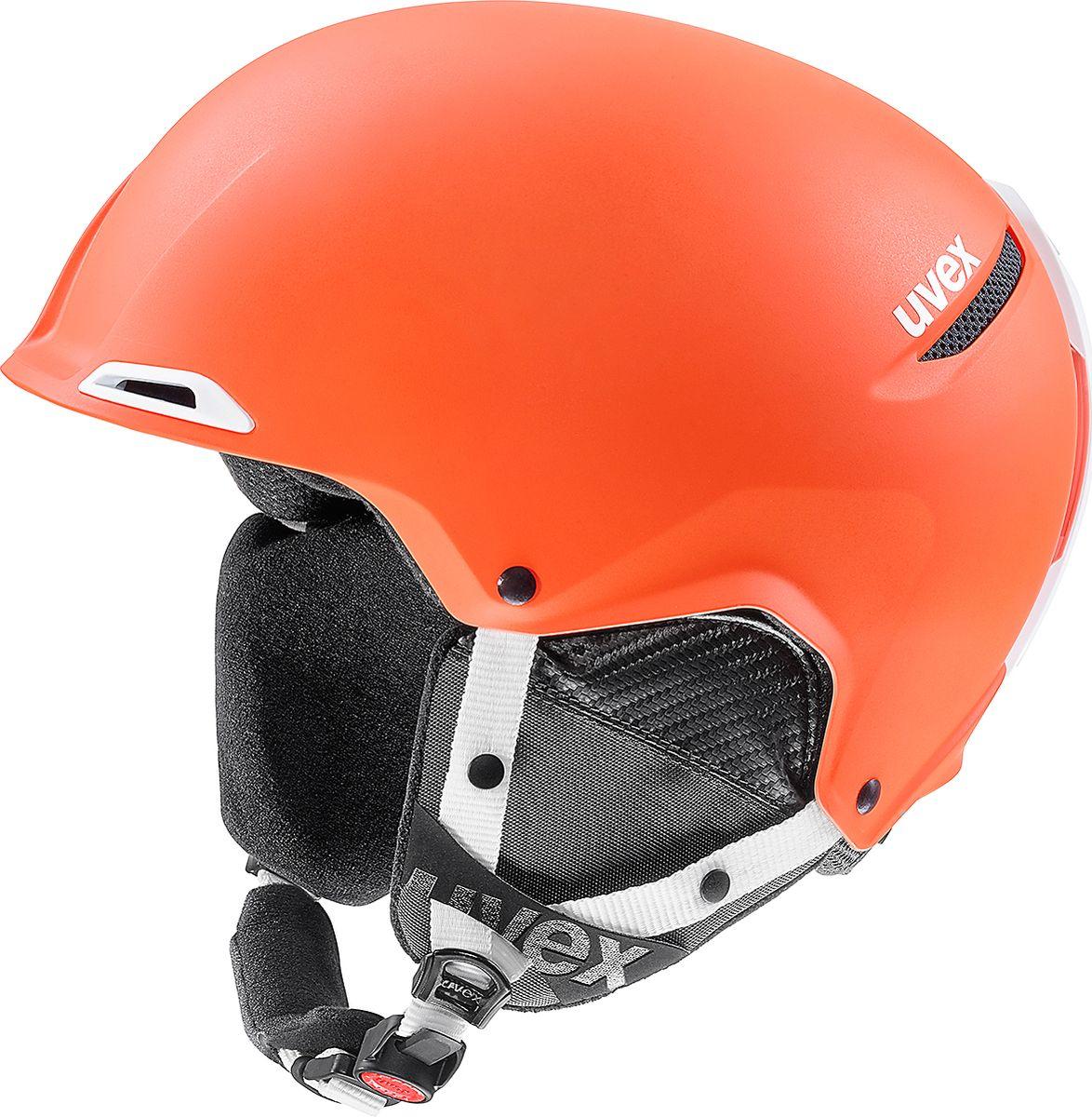 Шлем горнолыжный Uvex Jakk + Helmet, цвет: оранжевый, белый матовый. Размер 55/596209Горнолыжный шлем Uvex Jakk + Helmet создан для удобства и защиты от травм во время катания на горных лыжах и на сноуборде.Конструкция hard shell делает шлем максимально прочным, при этом шлем остается очень легким: материал внешнего слоя шлема отличается максимальной прочностью и низким весом, он на 15% легче аналогов и на 16% лучше поглощает силу удара.Ремешок на подбородке Monomatic расстегивается и застегивается одним нажатием кнопки, апростая и быстрая регулировка размера шлема IAS 3D обеспечивает настройку шлема по обхвату и высоте головы.Съемная подкладка выполнена из гипоаллергенного материала.