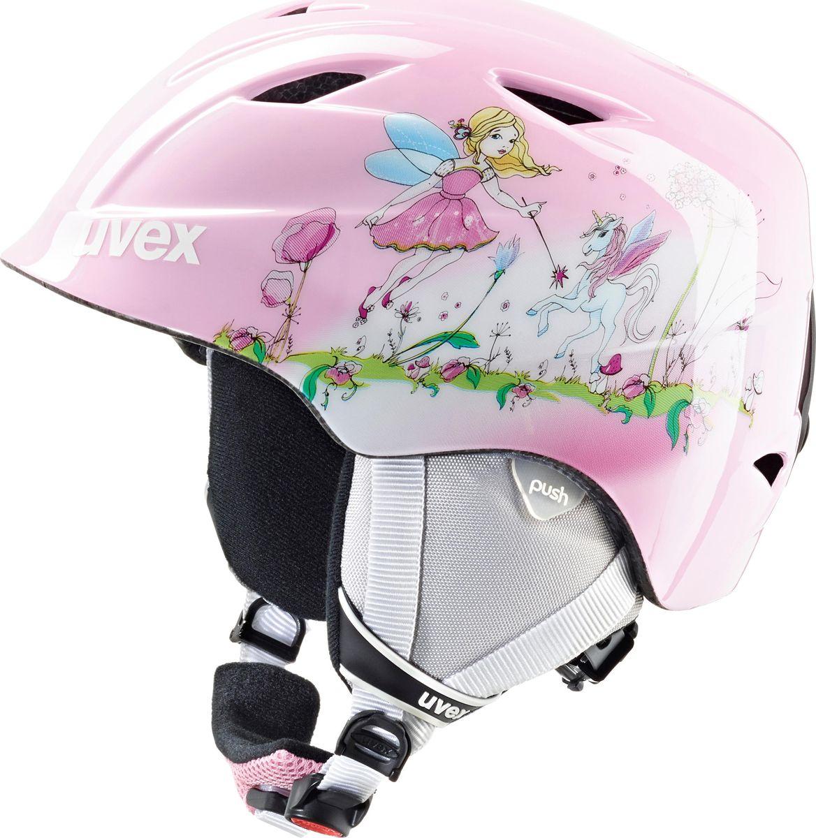 Шлем горнолыжный детский Uvex Airwing 2 Kids Helmet, фея. Размер XS6132Детский шлем Uvex Airwing 2 обеспечит юному лыжнику максимальный комфорт на склоне. В модели предусмотрены система вентиляции, съемная защита ушей и фиксатор стрэпа маски. Система индивидуальной подгонки размера IAS и застежка Monomatic позволят надежно закрепить шлем на голове. Подкладка выполнена из гипоаллергенного материала.