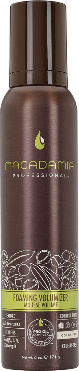 Macadamia Мусс для объема, 171 г500100Воздушный мусс Macadamia Professional, который добавляет слабым безжизненным волосам массу и объем, не утяжеляя их и не оставляя налета или эффекта склеивания. Облегчает расчесывание, контролирует пушистость, делает волосы гладкими, мягкими, блестящими и упругими. С термозащитным действием. Сохраняет цвет окрашенных волос, не содержит агрессивных компонентов.