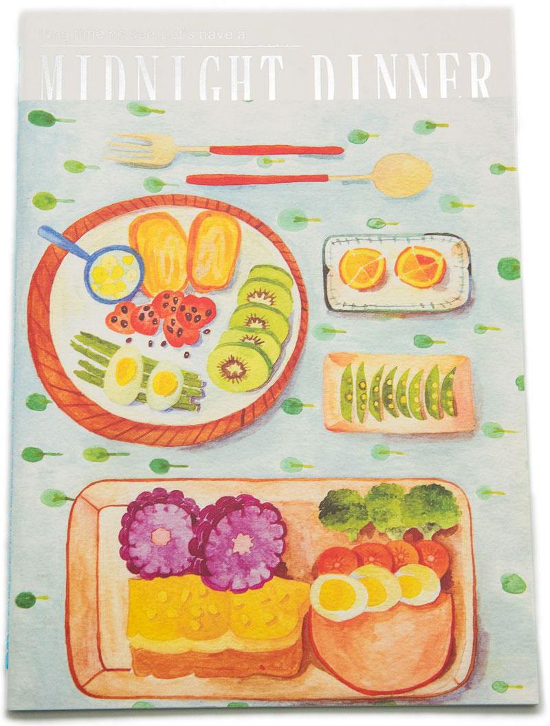 Еж-стайл Тетрадь Midnight Dinner 38 листов в линейку цвет голубой0101435Тетрадь Еж-стайл подойдет как для записи рецептов, так и для работы. Обложка тетради выполнена из картона и дополнена изображением различных блюд. Внутренний блок состоит из 38 листов белой бумаги. Листы тетради сшиты между собой.