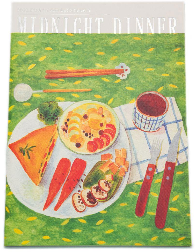 Еж-стайл Тетрадь Midnight Dinner 38 листов в линейку цвет зеленый0909256Тетрадь Еж-стайл подойдет как для записи рецептов, так и для работы. Обложка тетради выполнена из картона и дополнена изображением различных блюд. Внутренний блок состоит из 38 листов белой бумаги. Листы тетради сшиты между собой.