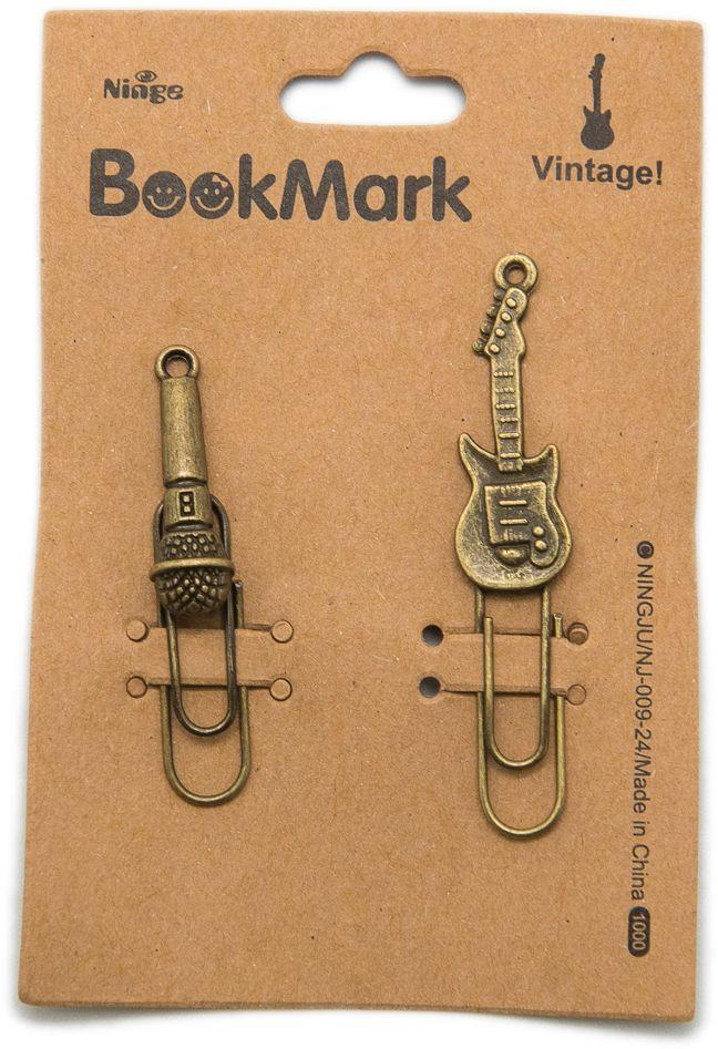 Еж-стайл Закладка Винтаж Музыка 2 шт0602021Еж-стайл - набор из 2 самых романтичных и трогательных закладок! Изделия выполнены из латуни. Гитара, микрофон и винтажный стиль - лучше закладок для книг не придумать!