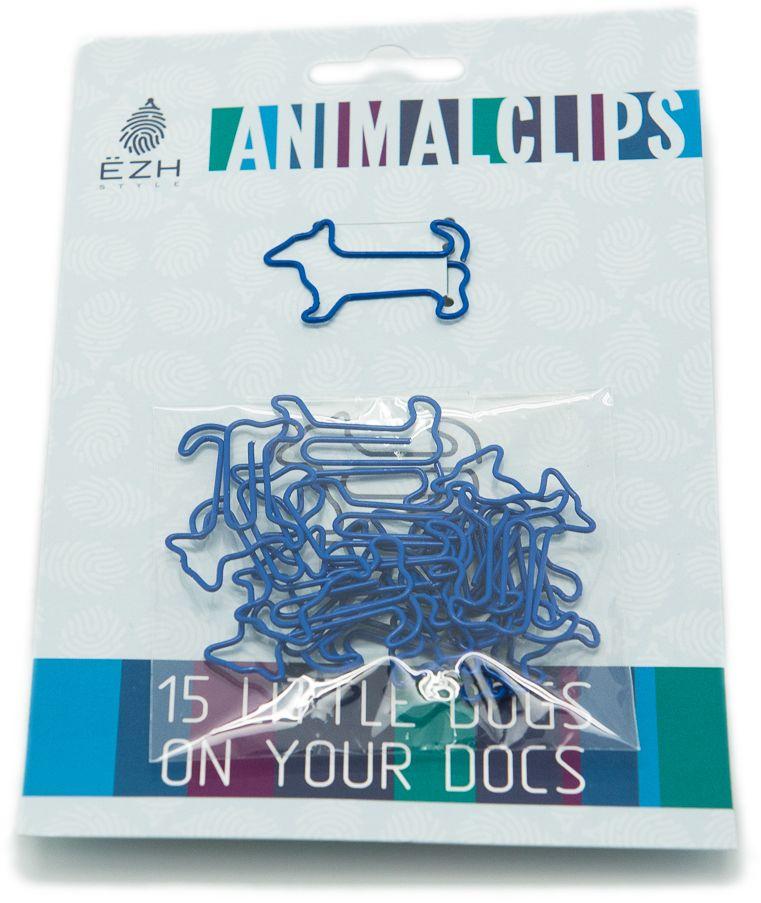 Еж-стайл Скрепки фигурные Собаки цвет синий