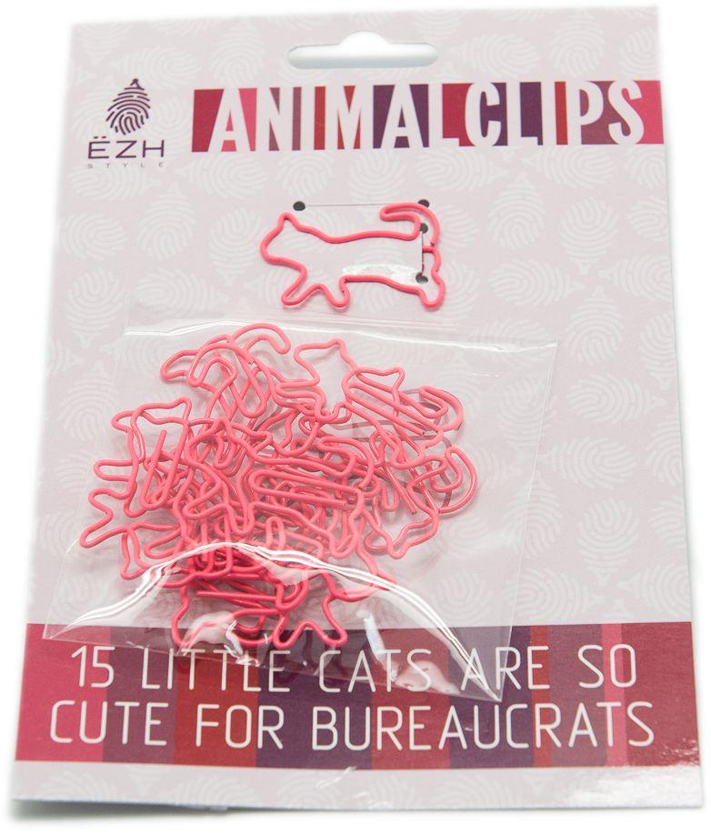 Еж-стайл Скрепки фигурные Кошки цвет розовый 15 шт