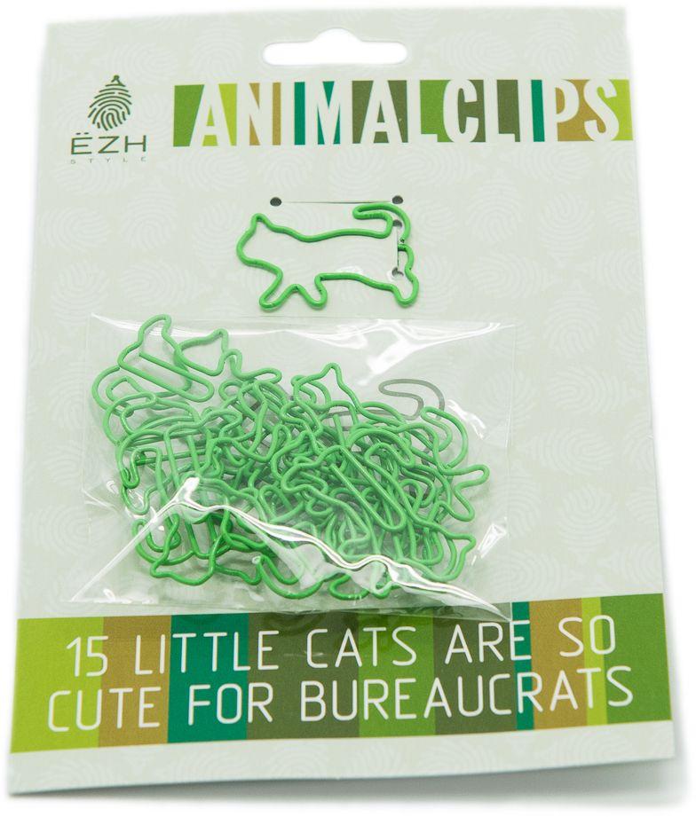 Еж-стайл Скрепки фигурные Кошки цвет зеленый -  Скрепки, кнопки, зажимы