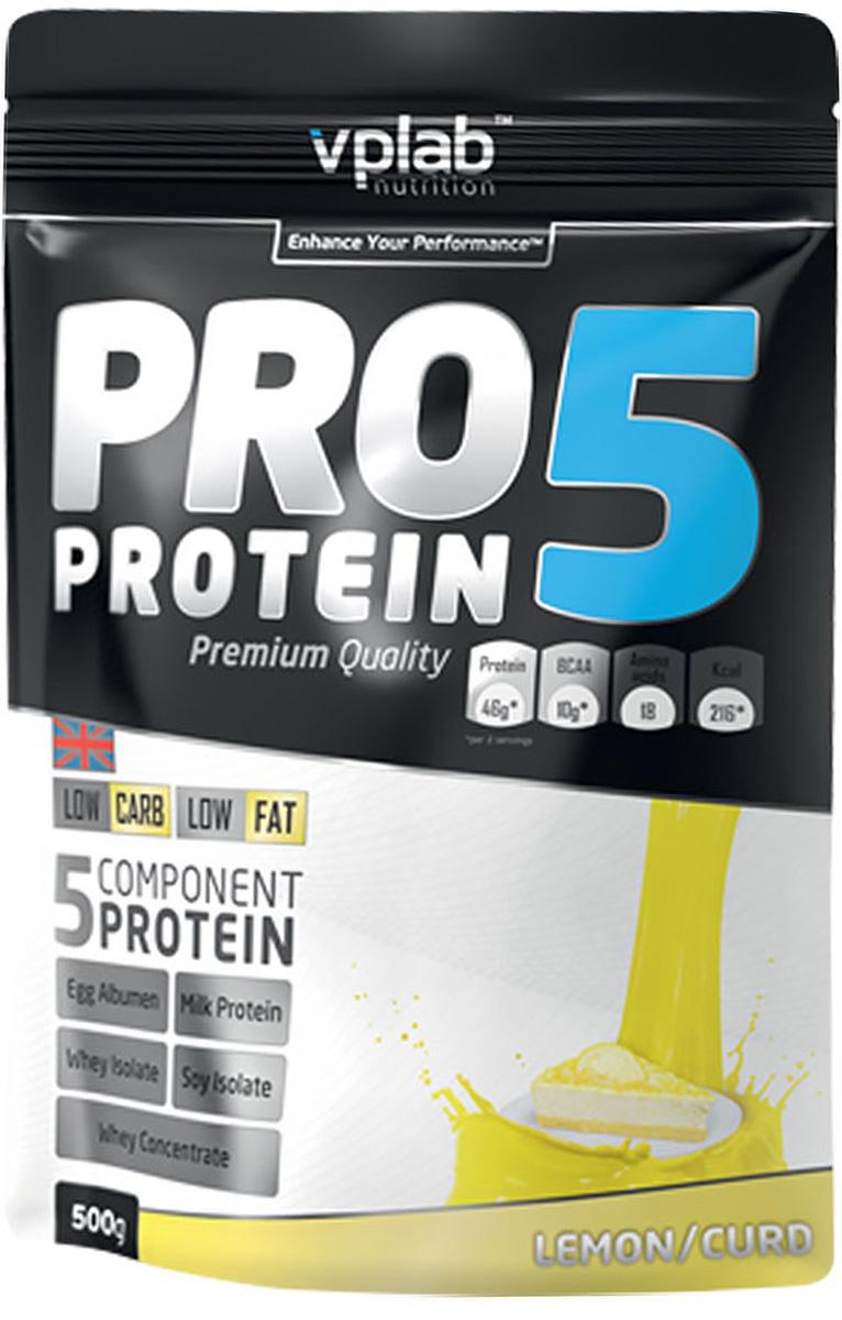 Протеин Vplab PRO 5, лимон-творог, 500 г192586Протеин Vplab PRO 5 - пятикомпонентная белковая смесь. Концентрация 80%. У каждого из этих белков своя скорость усвоения, что способствует постоянному и равномерному поступлению аминокислот в кровь на протяжении более чем 5 часов. Этот протеиновый коктейль создан как дополнение к питанию с целью увеличения количества белка в дневном рационе.Для нормальной работы всех систем организма человеку требуется 2-4 г белка на килограмм веса в сутки.Молочный белок (казеин): снабжает мышцы протеином в течение долгого времени, содержит Л-глютамин. Концентрат сывороточного протеина: быстроусваиваемый протеин с высоким содержанием ВСАА, повышает количество свободных аминокислот в крови. Изолят соевого протеина: наилучший растительный протеин высшей очистки, не содержит ГМО. Изолят сывороточного протеина: высококачественный белок с наивысшей биологической ценностью и функциональной многосторонностью. Яичный белок (альбумин): натуральный гидролизованный яичный белок высокой биологической ценности.В PRO 5 очень низкое количество жиров и углеводов, что в сочетании с пятикомпонентным высококачественным белком делает его отличным компонентом любой тренировочной программы. Продукт эффективно стимулирует прирост сухой мышечной массы и существенное увеличение силовых показателей.Рекомендации по применению: PRO 5 целесообразно применять между приемами пищи, после тренировки и на ночь. Постоянное поступление аминокислот очень важно для построения мускулатуры!Рекомендации по приготовлению: 30 г порошка (2 столовые ложки, коктейль должен быть густым) растворить в 300 мл молока до 1,5% жирности. Товар сертифицирован.Как повысить эффективность тренировок с помощью спортивного питания? Статья OZON Гид