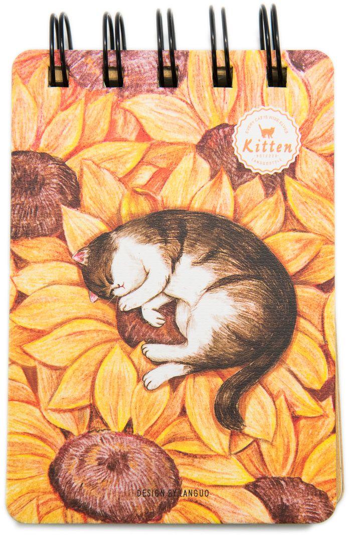 Еж-стайл Блокнот Kitten В подсолнухе 110 листов в линейку0909299Блокнот Еж-стайл можно использовать в качестве ежедневника, блокнота для рисования, написания сочинений или важных событий. Обложка выполнена из плотного картона и оформлена изображением кота. Внутренний блок состоит из 110 листов в линейку.