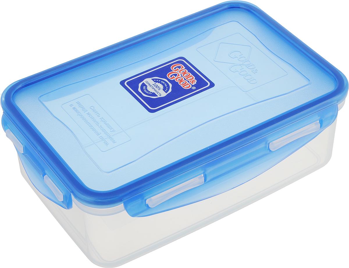 Контейнер пищевой Good&Good, цвет: прозрачный, синий, 1,1 л. B/COL 3-1B/COL 3-1Контейнер Good&Good изготовлен из высококачественного полипропилена и предназначен для хранения любых пищевых продуктов. Благодаря особымтехнологиям изготовления, лотки в течение времени службы не меняют цвет и не пропитываются запахами. Крышка с силиконовой вставкой герметично защелкивается специальным механизмом. Контейнер удобен для ежедневного использования в быту.Можно мыть в посудомоечной машине и использовать в микроволновой печи.Размер контейнера (с учетом крышки): 19,5 х 12,5 х 6,5 см.