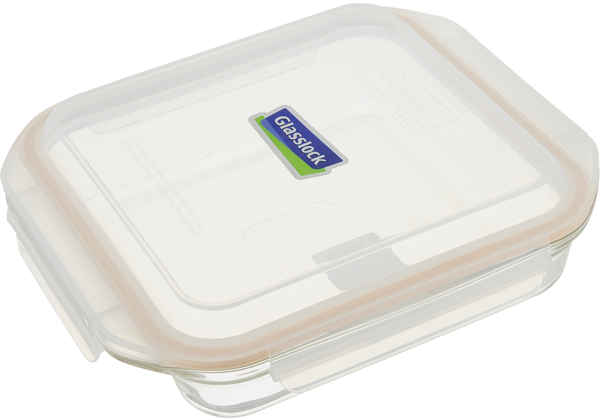 Контейнер для запекания Glasslock OCST-210, цвет: прозрачный, оранжевый, 2,1 л контейнер для запекания glasslock ocst 210 цвет прозрачный оранжевый 2 1 л