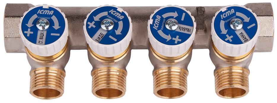 Коллектор для водоснабжения ICMA, 3/4 х 4 выхода 1/287227PC06Простой сборный коллектор с отсекающими кранами ICMA предназначен для распределения потока в системах водоснабжения. Регулирующие ручки коллекторов снабжены диском. Коллекторы изготовлены из латуни со специальным покрытием, которое обеспечивает долгий срок службы. Сантехнический регулирующий коллектор соответствует условиям эксплуатации оборудования для водоснабжения: содержание свинца в питьевой воде, прошедшей по арматуре, соответствует нормам, рекомендованным Всемирной организацией здравоохранения. Головные присоединения 3/4 gas и 1 gas. Боковые выходы с резьбой 1/2 gas. Шаг боковых выходов 37,5 мм для размера 3/4 и 50 мм для размера 1.Размер головного подключения: 3/4. Резьба боковых выходов: 1/2.Количество выходов: 4.