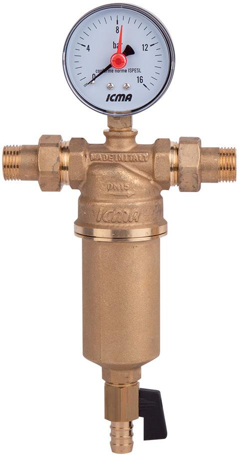 Фильтр самопромывной ICMA, с манометром, американка, 181098GH06Муфтовый самопромывной фильтр для воды ICMA снабжен наружной резьбой. При необходимости к муфтам подключается счетчик воды. Съемный фильтрующий картридж выполнен из нержавеющей стали 100 микрон. Поставляется в комплекте с манометром и сливным краном для подключения к канализации.Максимальное рабочее давление: 25 бар.Максимальная рабочая температура: 90°C.Фильтрующий картридж для замены арт. 752.Размер: 1.