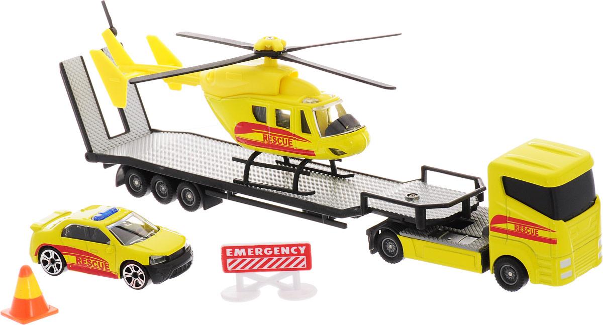 HTI Автотранспортер Roadsterz с машиной и вертолетом Служба спасения hti мусоровоз roadsterz