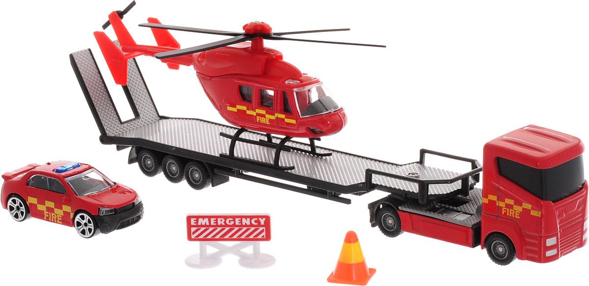 HTI Автотранспортер Roadsterz с машиной и вертолетом Пожарная служба hti мусоровоз roadsterz