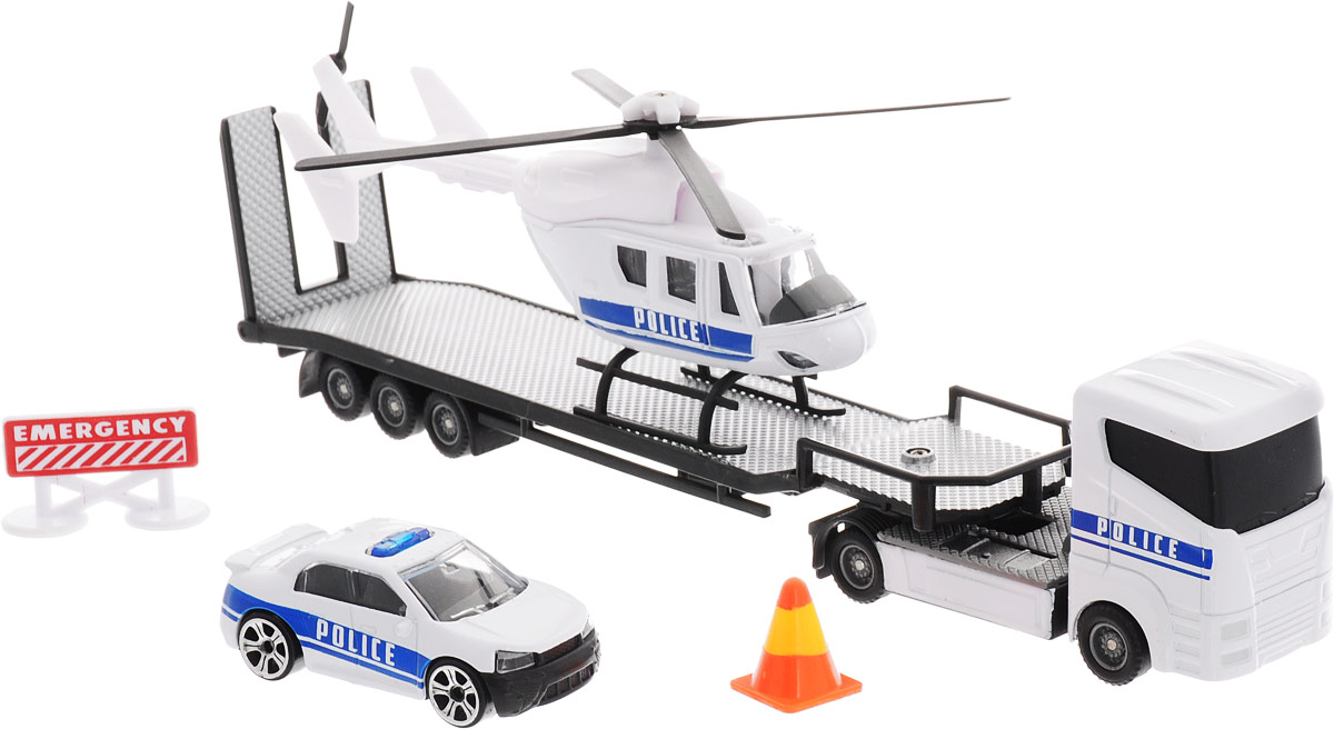 HTI Автотранспортер Roadsterz с машиной и вертолетом Полиция hti мусоровоз roadsterz