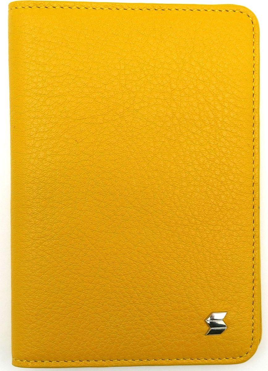 Обложка для паспорта женская Soltan, цвет: желтый. 009 02 08009 02 08Яркая обложка для паспорта SOLTAN из натуральной кожи желтого цвета.