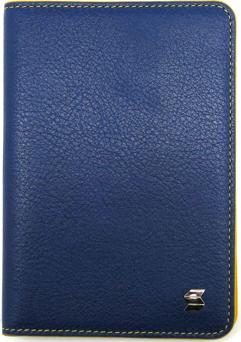Обложка для паспорта женская Soltan, цвет: синий, желтый. 009 02 07/08009 02 07/08Яркая обложка для паспорта из натуральной кожи выполнена в сочетании двух цветов - синего и желтого.