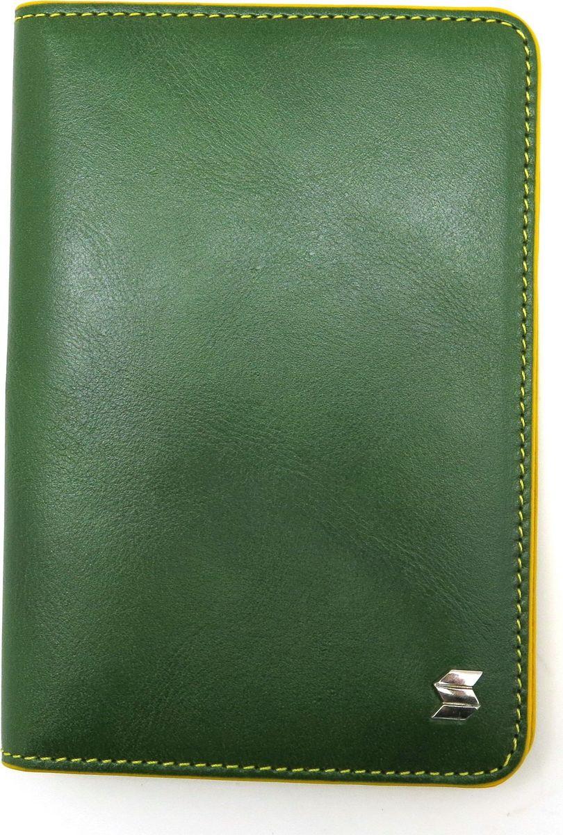 Обложка для паспорта женская Soltan, цвет: зеленый, желтый. 009 11 06/08 - Обложки для паспорта