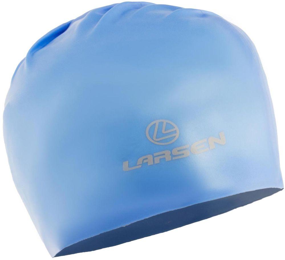 Шапочка для плавания Larsen, цвет: синий. 154316 шапочка для плавания детская larsen рыбка цвет желтый lsc10
