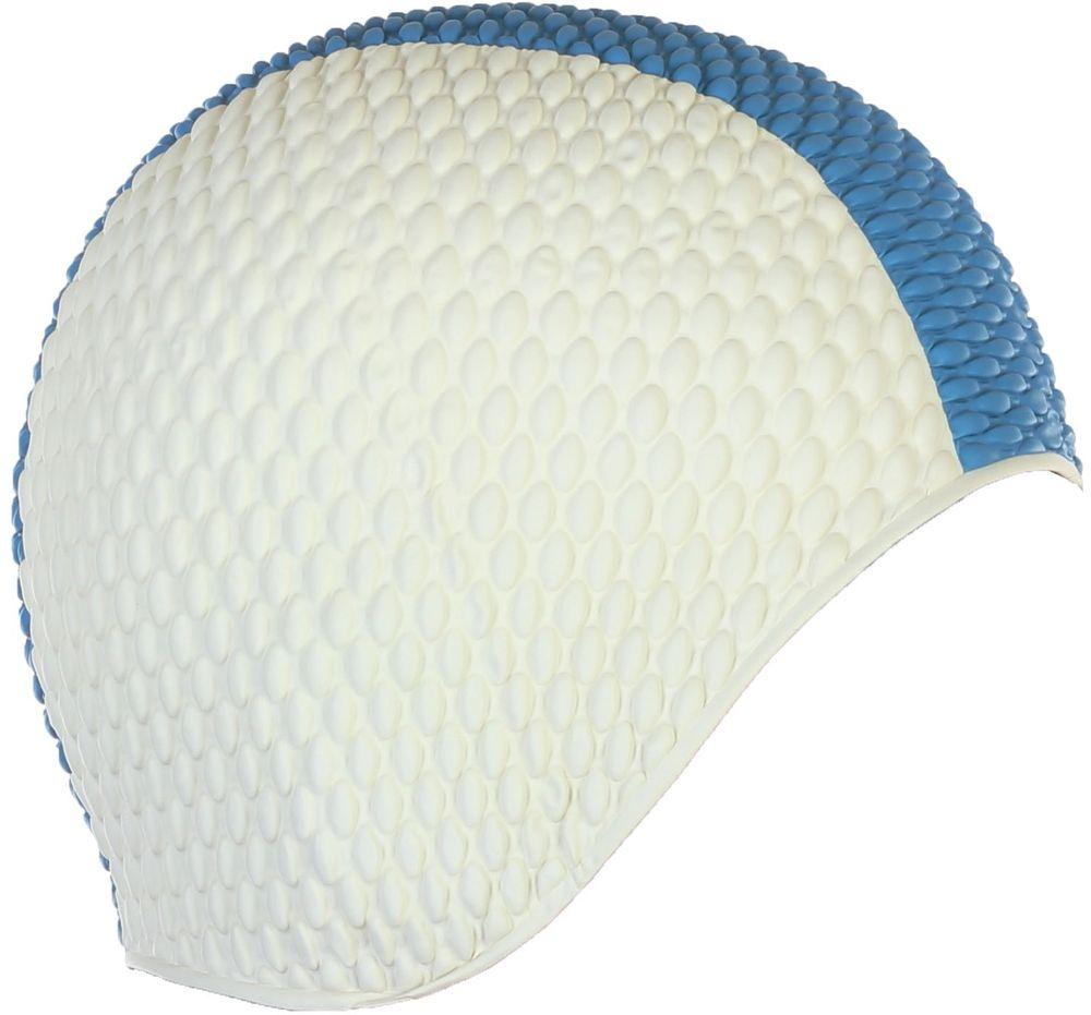 Шапочка для плавания Larsen Бабл-кап, цвет: белый, синий шапочка для плавания детская larsen рыбка цвет желтый lsc10