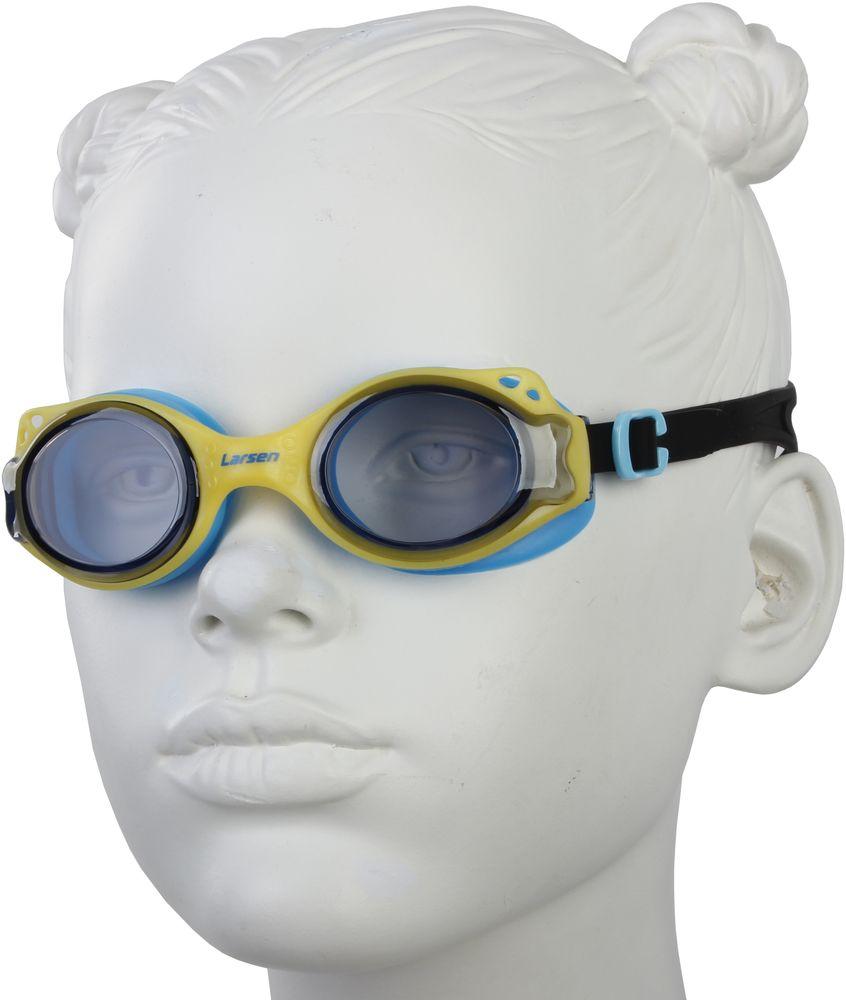 Очки для плавания Larsen, цвет: желтый, синий. DS27329393Очки для плавания Larsen имеют антизапотевающее покрытие: Antifog. Защищают от ультрафиолета: UV Protection. Линзы выполнены из поликарбоната. Оправа изготовлена из TPE и высококачественного силикона. Силиконовый ремешок. Нерегулируемая переносица.