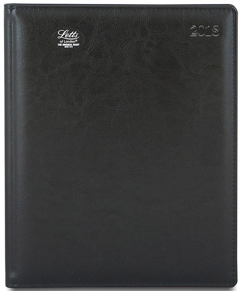 Letts Ежедневник Global Deluxe 2018 датированный 64 листа цвет черный формат А4412127110Утонченный ежедневник Letts Global Deluxe 2018 - идеально подойдёт настоящим ценителям английской классики.Ежедневник выполнен в твердом переплете из нежнейшей натуральной кожи черного цвета. Позолоченный срез страниц, шелковая закладка-разделитель и перфорированные уголки подчеркнут респектабельный стиль владельца.Каждая страница ежедневника имеет почасовую и календарную нумерацию. На каждый час отведено по 2 строчки, а в верхней части страницы расположены пустые столбики для самых разнообразных заметок. На первых и последних страницах ежедневника представлен информационный блок. Он включает национальные праздники, календарь с 2017 по 2022 год, график отпусков, международные торговые выставки, часовые пояса, международные коды. Также в блок информации входят меры длины веса и других величин, размеры одежды, телефонная книга и цветная карта мира.Ежедневники Letts Global Deluxe 2018 - это высочайшее качество, стиль, динамичность и оригинальность.